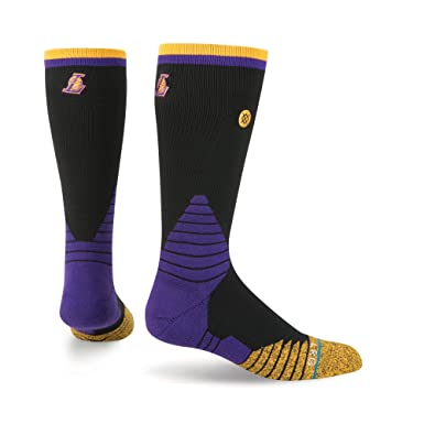 Stance Men's NBA On Court Los Angeles Lakers Logo Socks Medium (6-8.5)