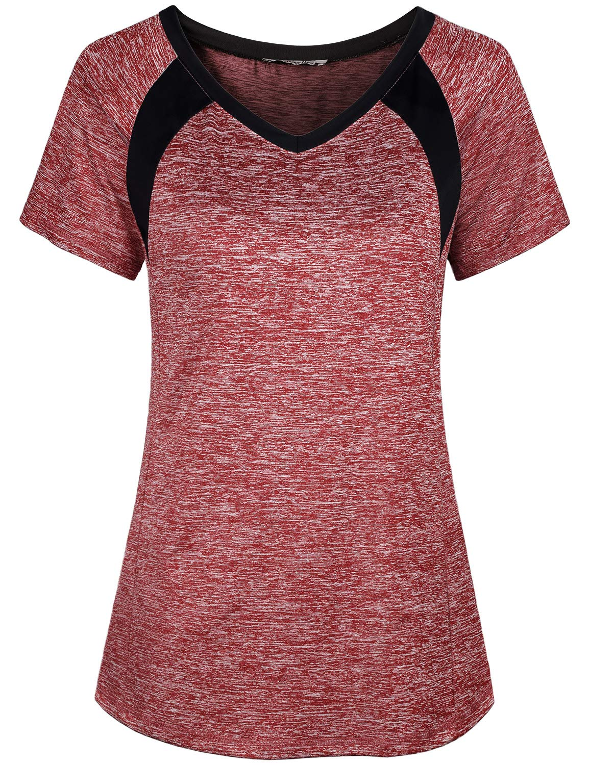 Miusey Yoga Tops for Women, Ladies Short Sleeve Sport Exercise Elastic Petite Activewear Fast Dry Running Solid Color Light Weight Cool Relaxing Wearing Wine M