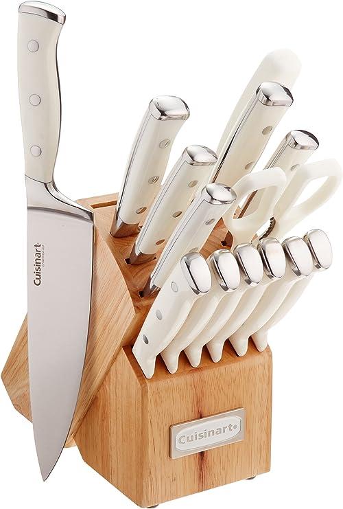 Amazon Com Cuisinart C77wtr 15p Classic Forged Triple Rivet 15 Piece Set White Kitchen Dining