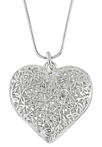 Red del corazón de amor de la collar de joyería de la señoras plata plateado Regalo Navidad