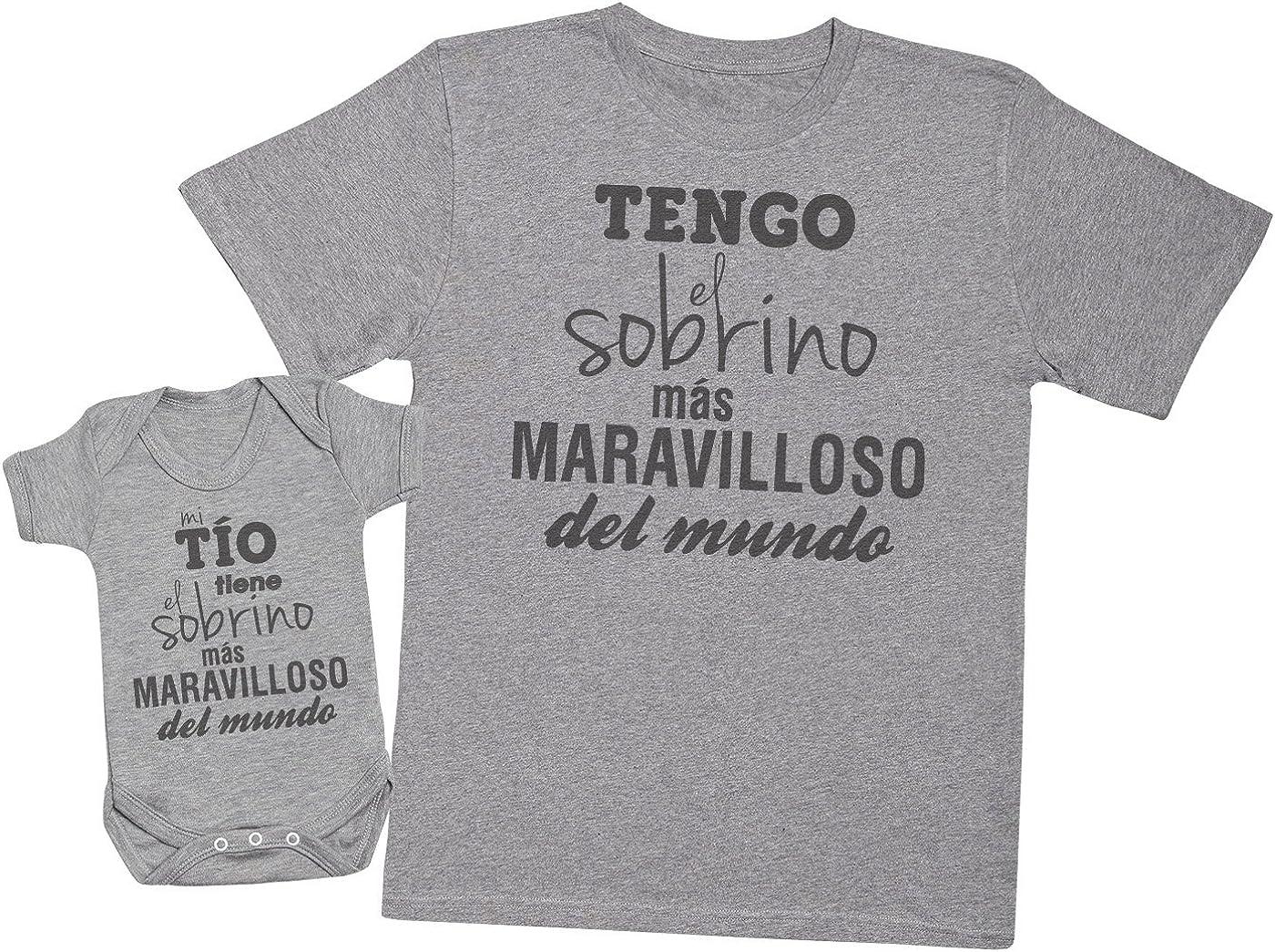 Zarlivia Clothing Mi Tío Tiene el Sobrino - Regalo para Padres y bebés en un Cuerpo para bebés y una Camiseta de Hombre a Juego