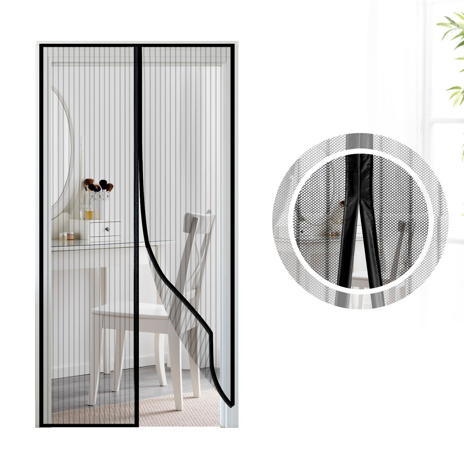 Magnetic Screen Door, Samione Magnetic Flying Insect Door Screen/Curtain,Anti-mosquito Curtain Insect Mosquito Bug Mesh Black (90x 210CM)