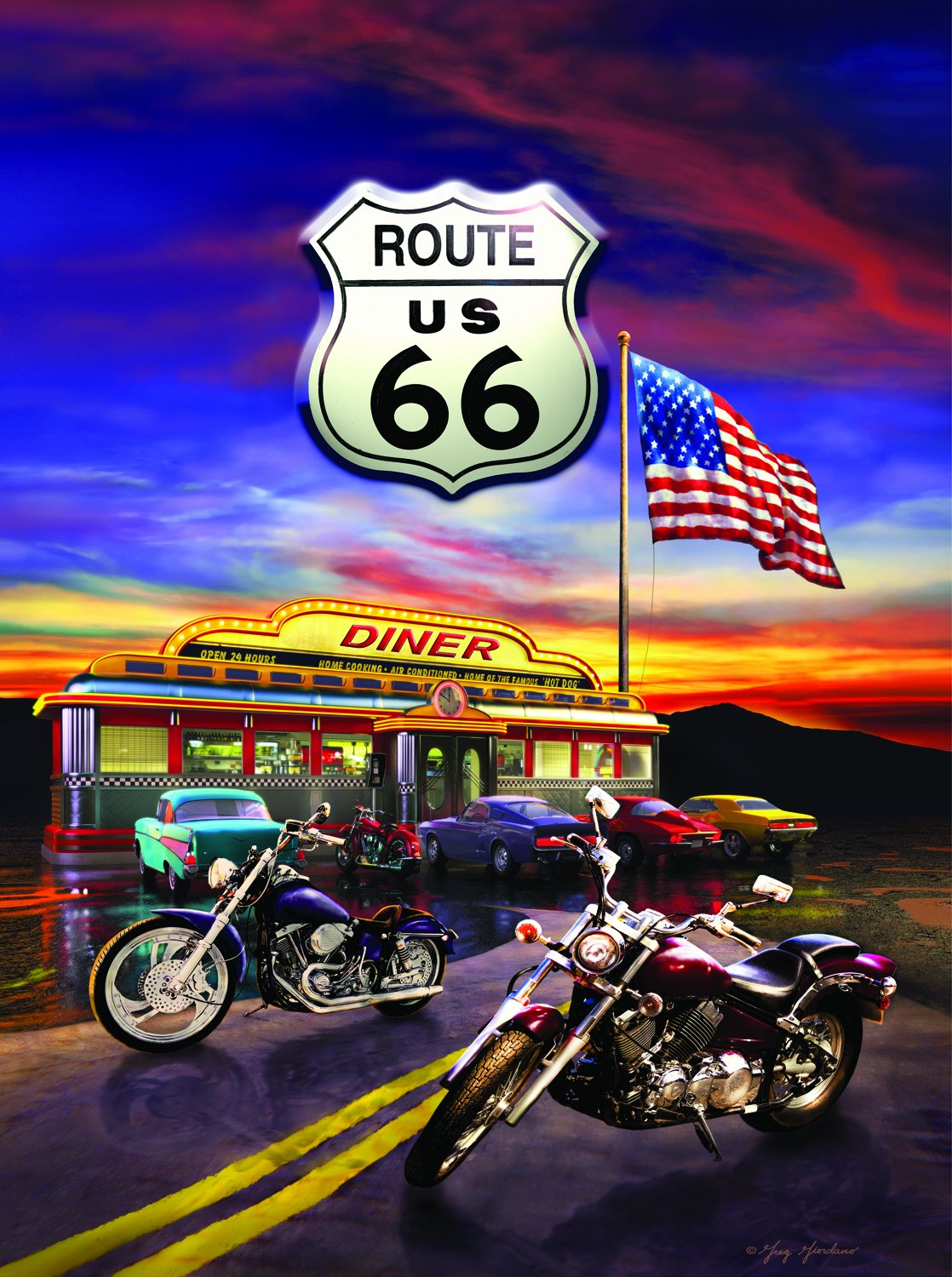 harley davidson puzzle route 66 diner 1000 piece jigsaw 20 x 27 interlocking 692757922508 ebay. Black Bedroom Furniture Sets. Home Design Ideas