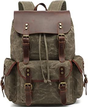 HuaChen Heavy-duty Leather Canvas Backpack