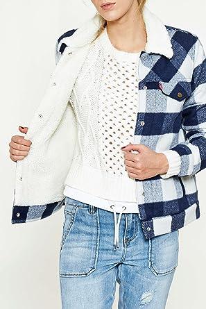En Trucker Levi's M Jean Femme Sherpa Blouson Wool Blanc Bleu PqwdPfUT