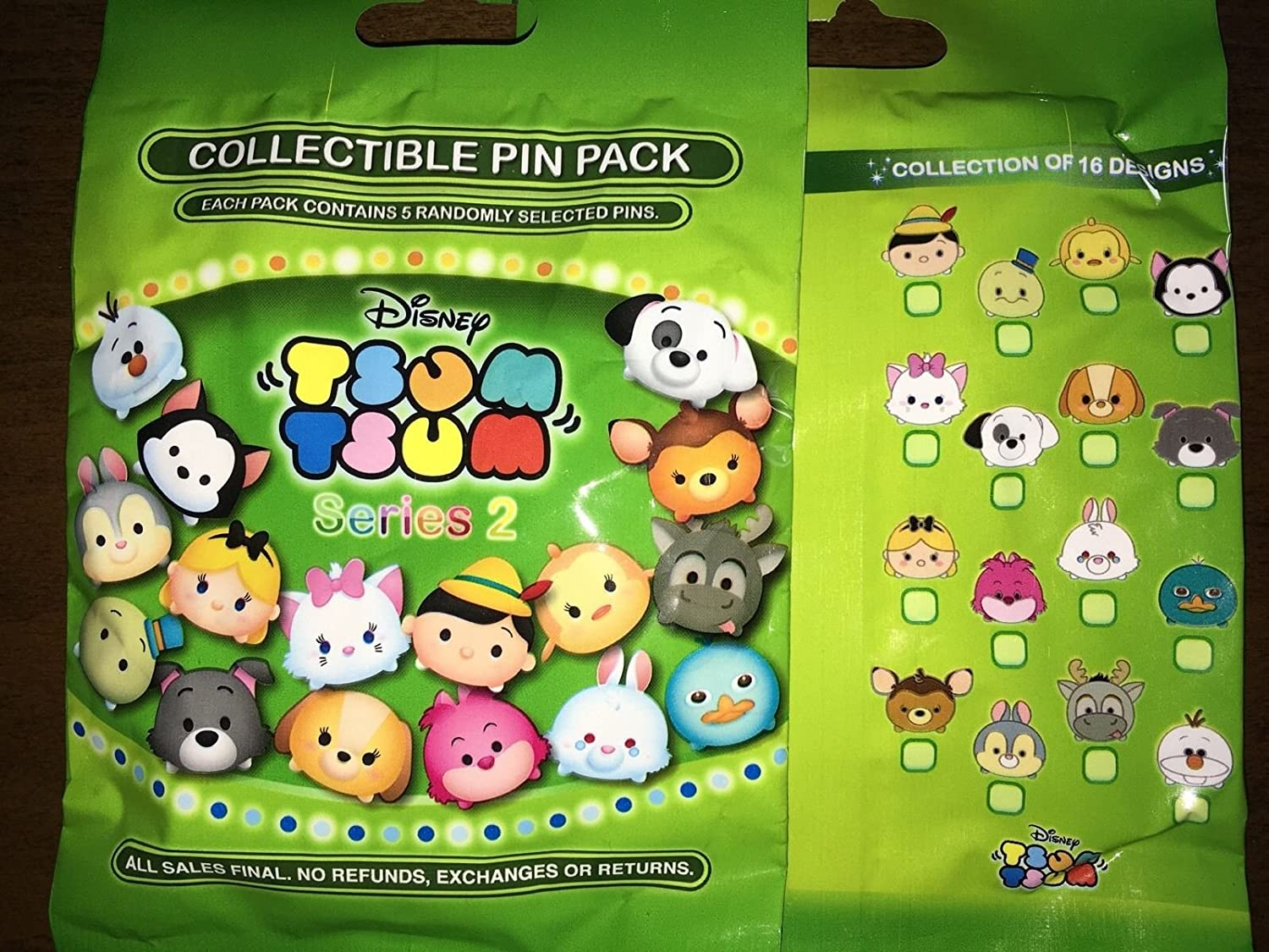 TSUM TSUM SERIES 2 Disney 5 PACKS NEW 5-pin Collectible Mystery Pack Pins
