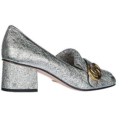 8c2e9c70e1 Gucci Escarpins Chaussures Femme à Talon en Cuir Argent: Amazon.fr ...