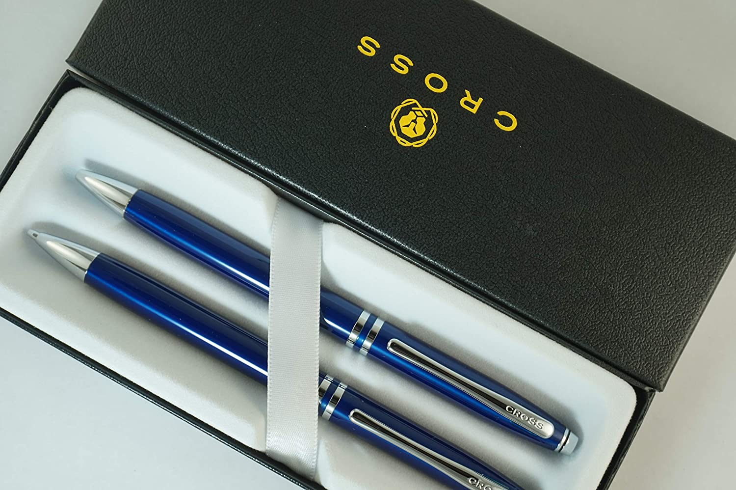Cross Classic Executive Companion Avatar Midnight Blue Lacquer and Extremely Polished Chrome Appointments with Distinctive Cross Special Signature Mid Rings, Pen and 0.7MM Pencil Set.