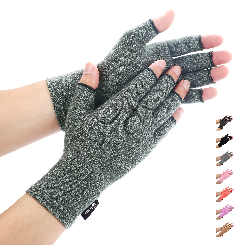 Arthritis Gloves by Duerer - Compression Gloves for Rheumatoid & Osteoarthritis - Hand Gloves Provide Arthritic Joint Pain Symptom Relief - Men & Women - Open Finger(Purple, L)