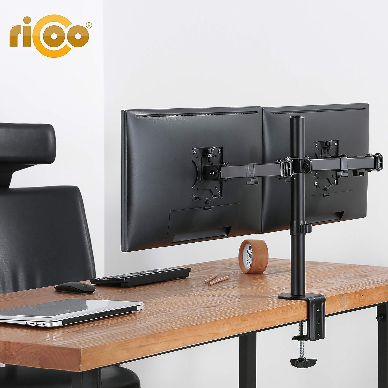 RICOO Doble Soporte Monitor de Mesa Escritorio para 2 Pantallas PC de Ordenador TS6711 para televisores Brazo Colgante Inclinable y Giratorio 3D OLED ...