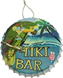 Tiki Bar Metal Bottle Cap Hanging Sign with Parrot