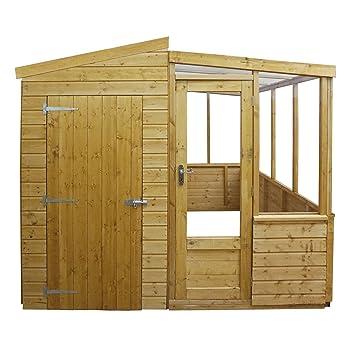 Waltons - Invernadero y cobertizo de madera de 2, 53 x 2, 49 m: Amazon.es: Jardín
