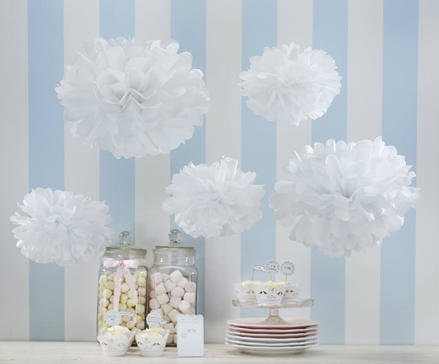 Amazon.com: Ginger Ray Vintage Lace Tissue Paper Pom Poms for ...