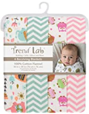 Trend Lab Elephants and Owls Flannel Blankets, 4 Piece