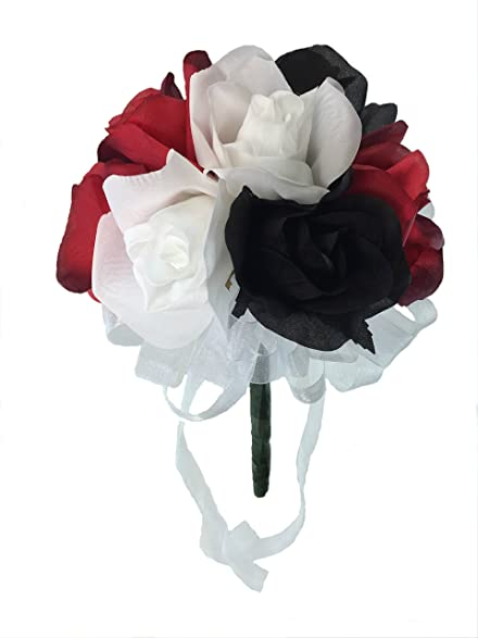 Amazon red white and black silk rose toss bouquet silk red white and black silk rose toss bouquet silk wedding toss bouquet mightylinksfo Choice Image