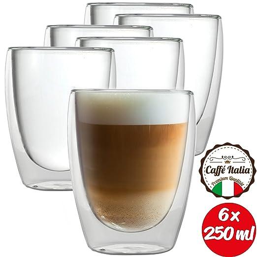 Vasos T/érmicos Caff/é Italia Roma Juego de Vasos para Capuchino 250 ml Aptos para lavavajillas 2 Calientes t/é y Latte Macchiato para Bebidas fr/ías