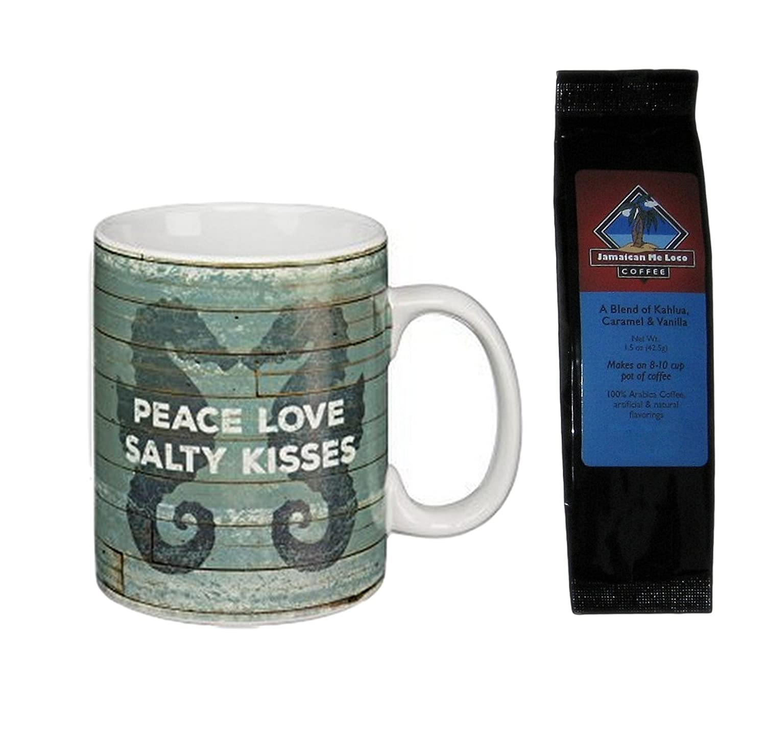 Amazon.com : Seahorses Peace Love Salty Kisses Beach Coffee Mug and Jamaican Me Loco Coffee Bundle Gift Set (2 Items) : Grocery & Gourmet Food