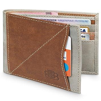 a6c954b4d4cd3 Karten Portemonnaie Herren Leder für 9 Karten ohne Kleingeldfach mit RFID  Schutz - Geldbörse ohne Münzfach