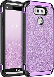 BENTOBEN Protective Phone Case for LG V20 (2016 Release) 2 in 1 Slim Fit Glitter Bling Hybrid Hard Cover Laminated with Sparkly Shiny Faux Leather Chrome Shockproof Bumper for Girls&Women Purple