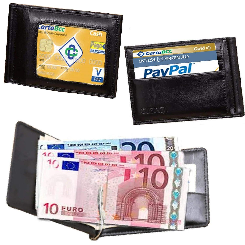 Cartera de Piel con Clip para Billetes y Tarjetas de crédito, Fina ...