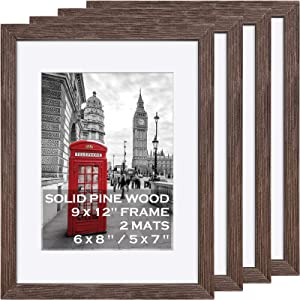 9x12 Picture Frames Wooden Rustic Walnut Display Pictures 6x8 and 5x7 with Mat or 9x12 without Mat- 9x12 Matted Photo Frame for Art with 2 Mats, Wall Mounting or Table Top Display - Set of 4
