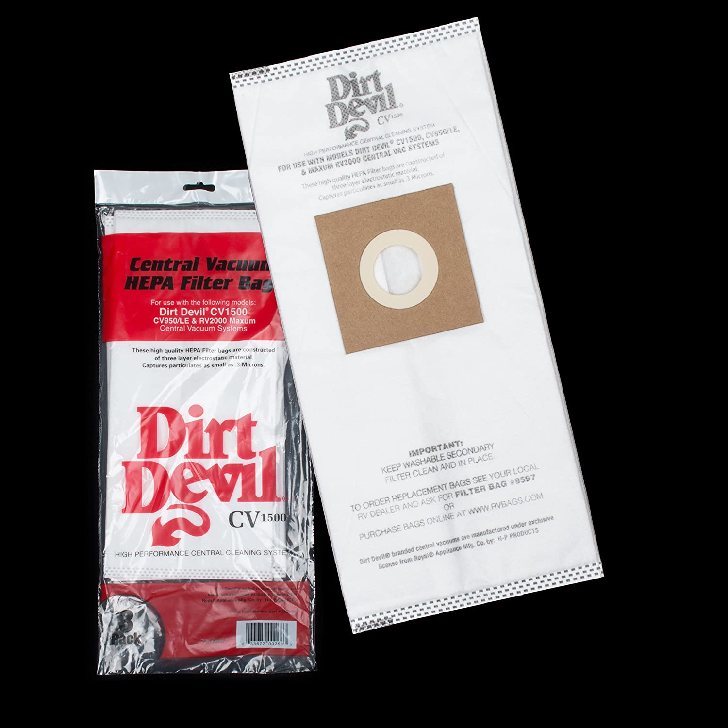 Dirt Devil Central Vacuum Cleaner HP, CV950,CV1500 Vacuum Bags 3 Pk Part # 7767-W, 9597