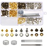 KINGSO Set di 135 Pz di Bottoni Automatici in Metallo a 3 Misure, Kit di Accessori Strumenti e Rivetti per Fatti di Cuoio, Utensili di Fissaggio per Pelle