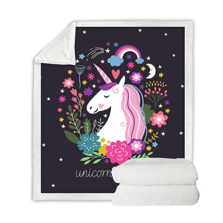 Throw 50x60 Sleepwish Cute Unicorn Blanket Girls Cartoon Unicorn with Flowers Fleece Blanket Black Sherpa Blanket for Kids Adults