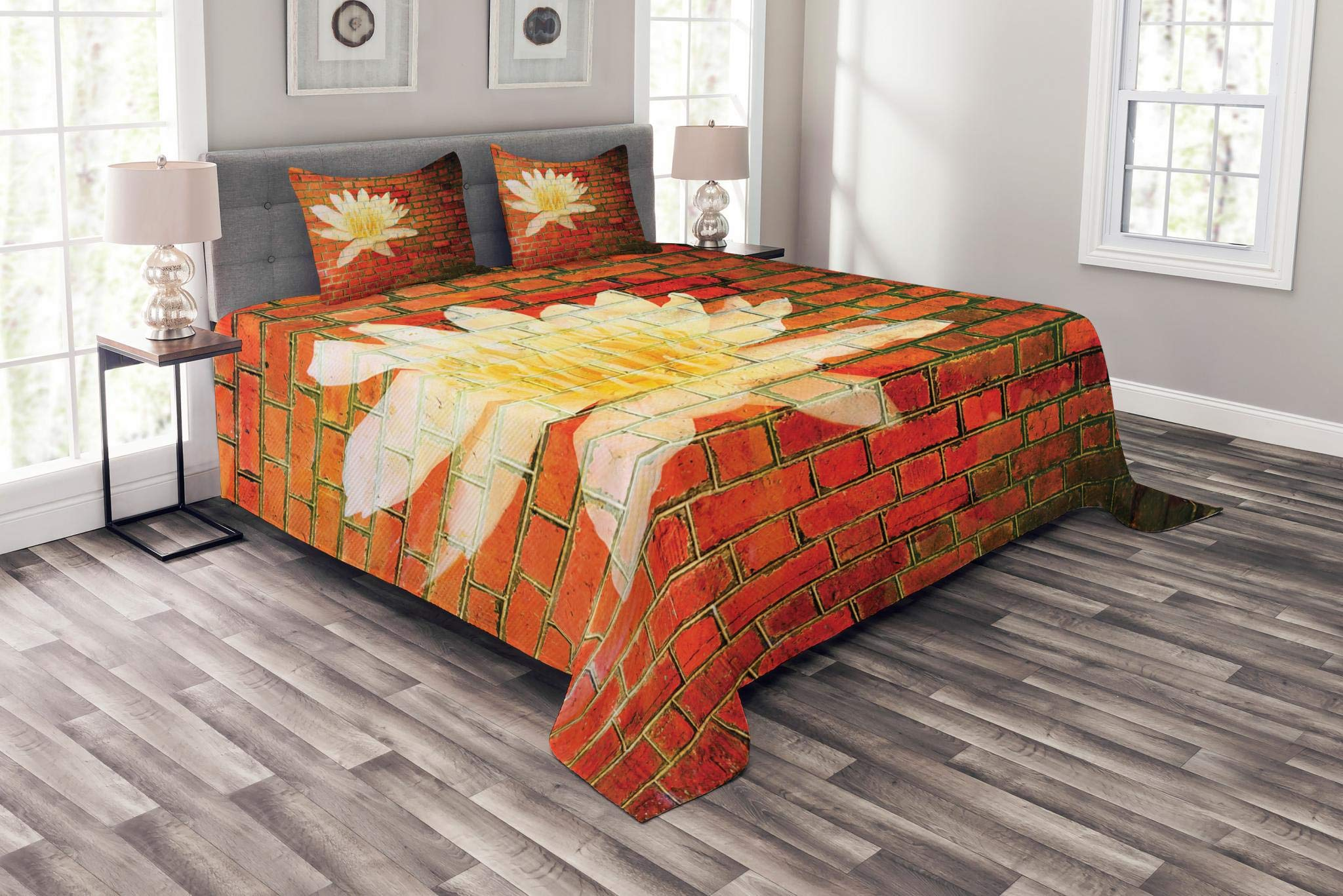 Lunarable Brick Wall Bedspread Set King Size, Lotus Flower on Grunge Red Brick Wall Floral Ornamental and Modern Pattern, Decorative Quilted 3 Piece Coverlet Set with 2 Pillow Shams, Yellow White