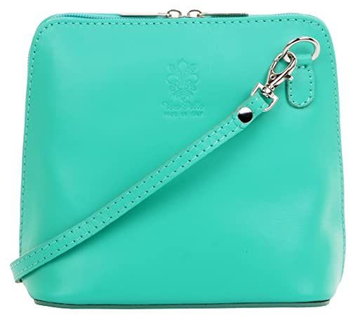 81ceb82b0225 Primo Sacchi Italian Soft Leather Hand Made Small Aqua Blue Cross Body Bag  or Shoulder Bag