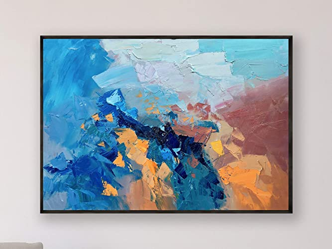 Outstanding Amazon Com Blue And Orange Abstract Painting On Canvas Download Free Architecture Designs Embacsunscenecom