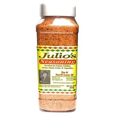 Julio's Seasoning 32oz (2 lb) Restaurant Bottle - Texas' Favorite Seasoning - Meat Seasoning - Taco Seasoning - Vegetable Seasoning - Famous Texmex Taste From Julio's Corn Chips