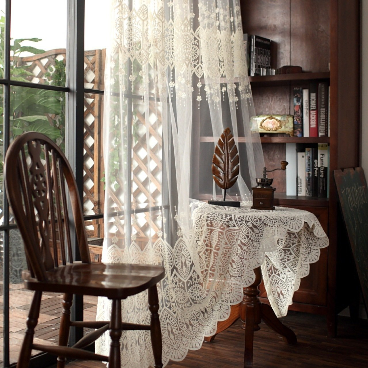 AiFish European Embroidered Beige Sheer Tulle Curtains Elegant Lace Curtain Rod Pocket Window Treatment Home Decor Shiny Transparent Gauze Voile Curtains for Living Room 1 Piece/Panel W52 x L84 inch
