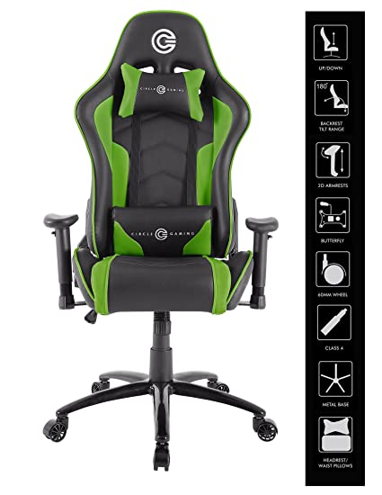 CIRCLE Gaming CH70 Green Black All Moulded Foam 2D ARM PVC Cover Material  With Adjustable Backrest
