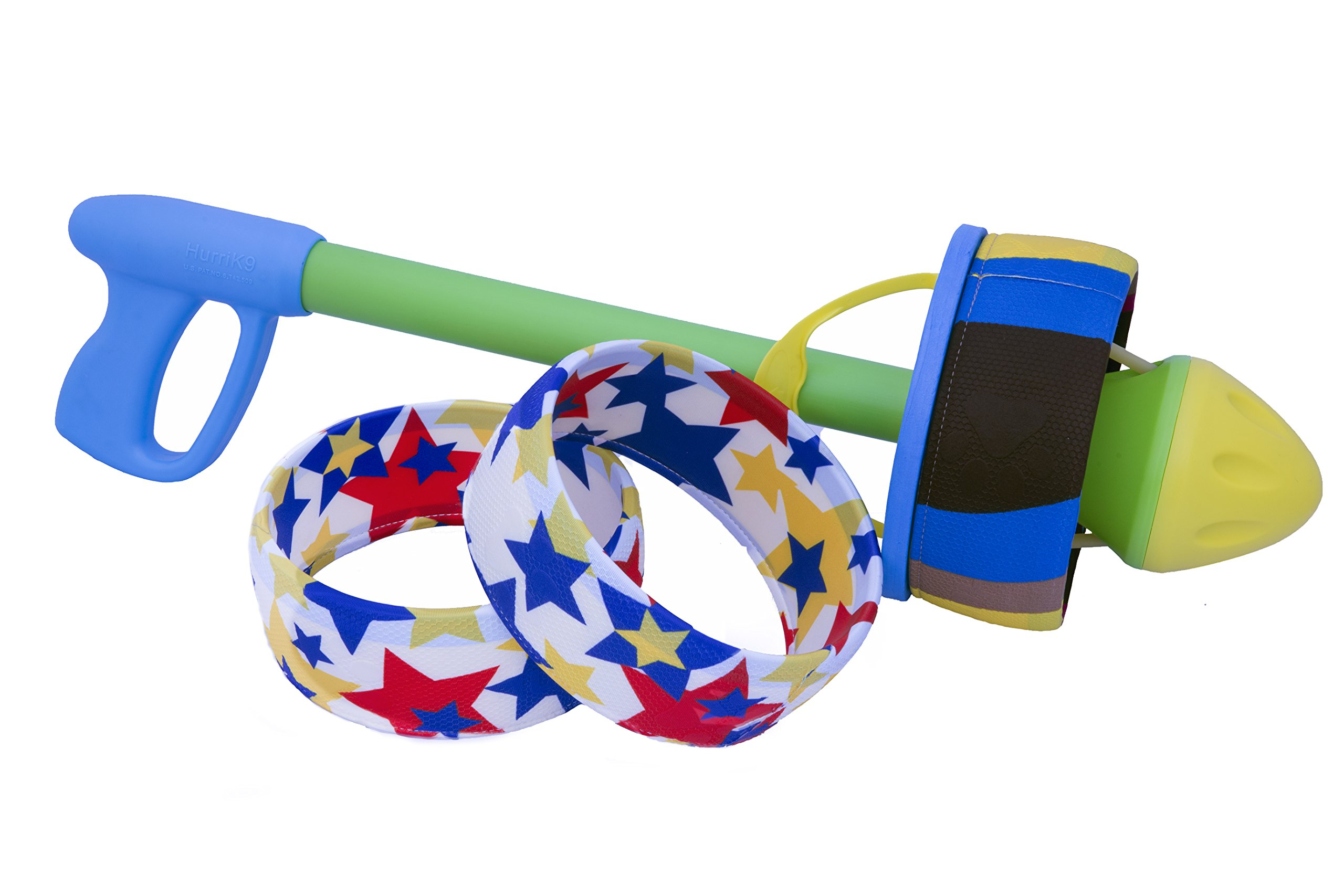 HurriK9 - Flying Ring Launcher for Dogs (Starter Pack - Launcher + 3 Extra Tough Spandex Rings) by HurriK9