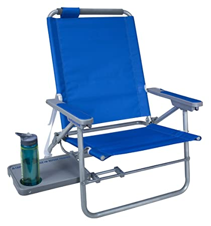GCI Waterside Big Surf Reclining Beach Chair With Side Table, Saybrook Blue