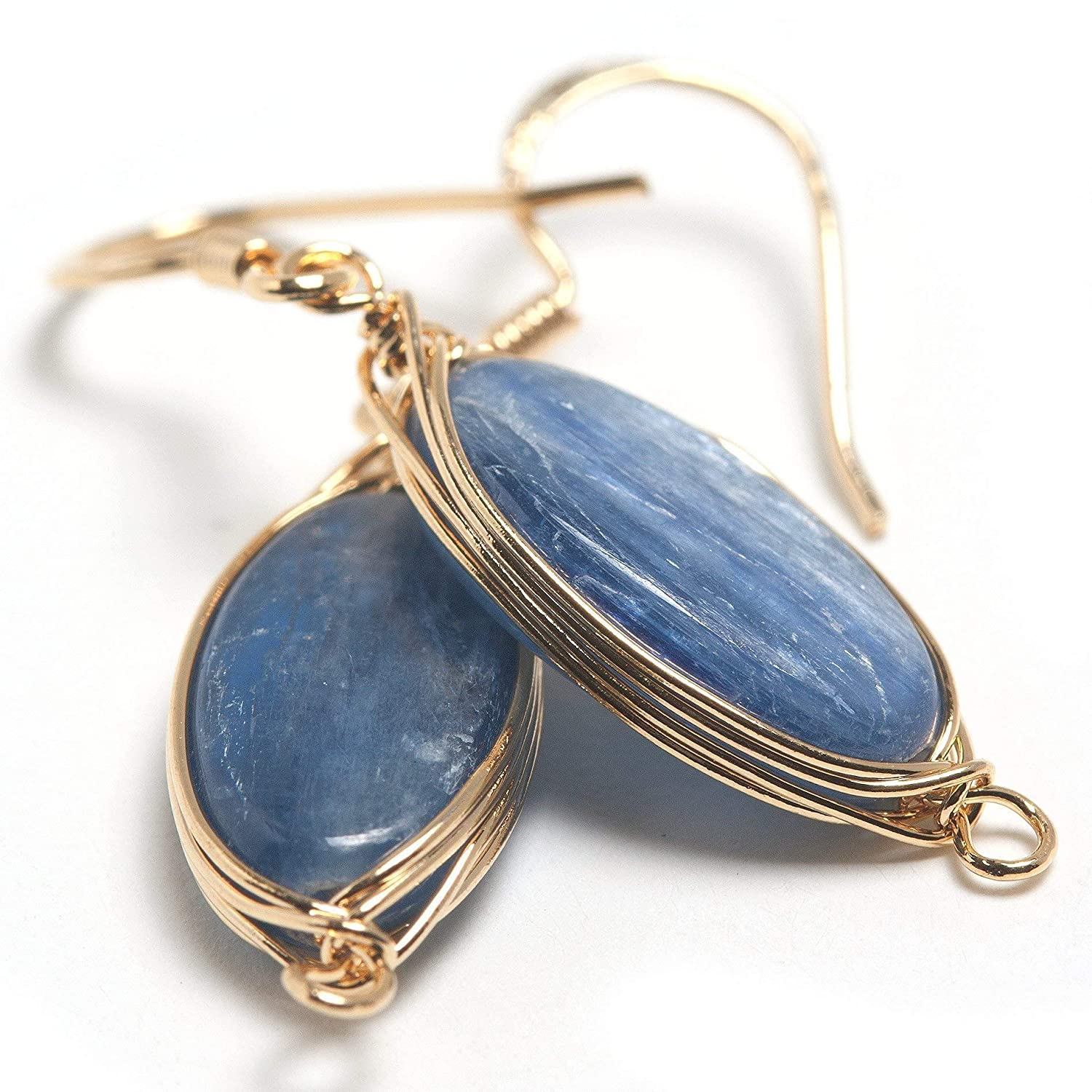 Natural Stone Wire Wrap Dangle Drop Earrings Gold Plated 925 Sterling Silver Hook/Kyanite