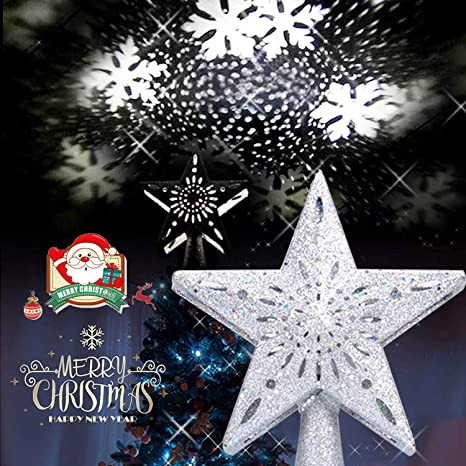Amazon Com Marbe Christmas Tree Topper Lighted Star Decoration With Led White Rotating Snow Projector 3d Hollow Silver Star Snowflake Tree Topper For Christmas Tree Decorations Home Kitchen