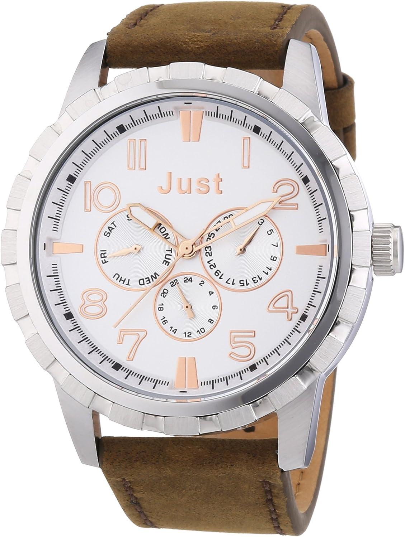 Just Watches 48-S4997-SL - Reloj analógico de Cuarzo para Hombre, Correa de Cuero Color marrón