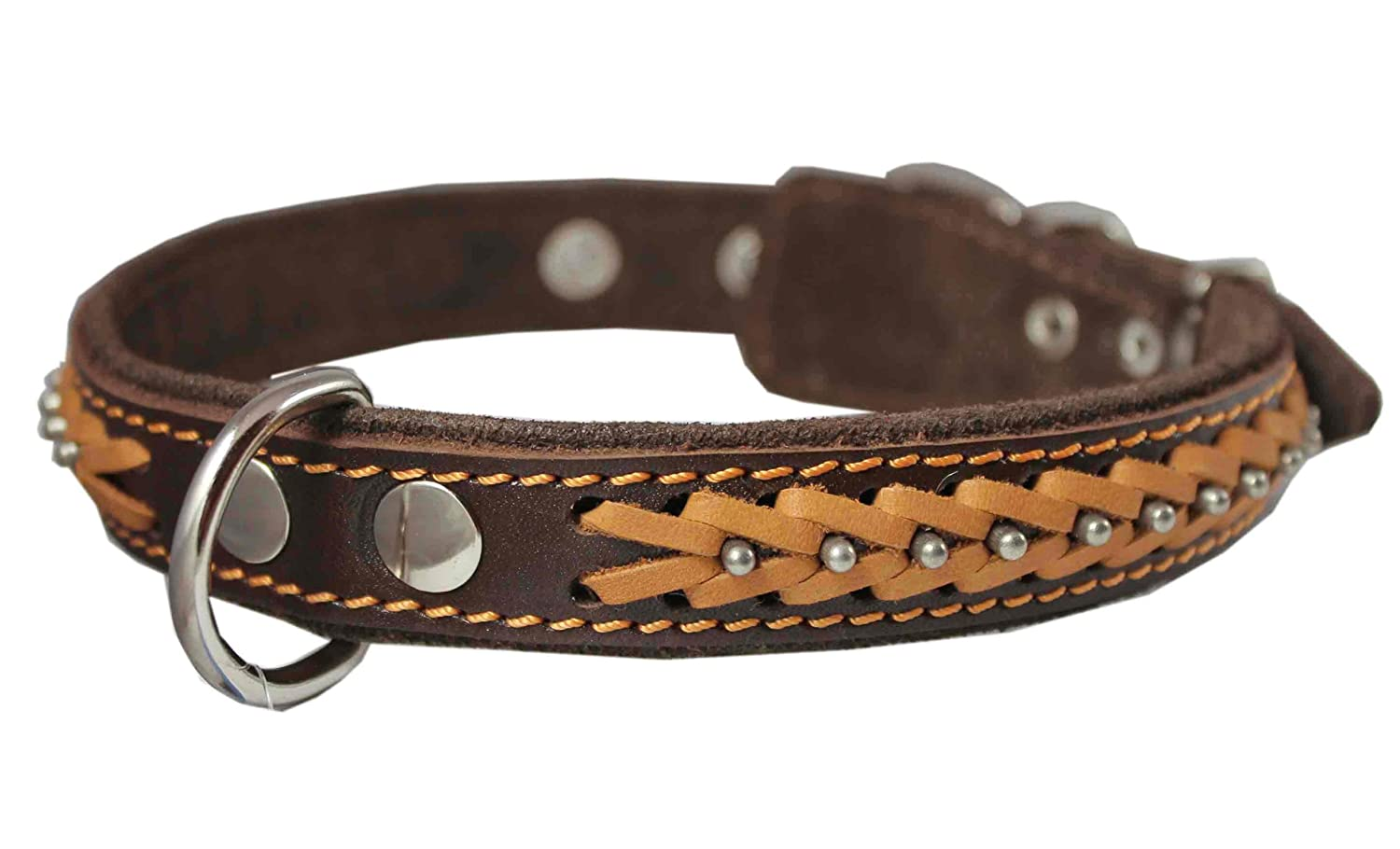 Genuine Leather Braided Studded Dog Collar, Brown 1  Wide. Fits 14 -18  Neck.