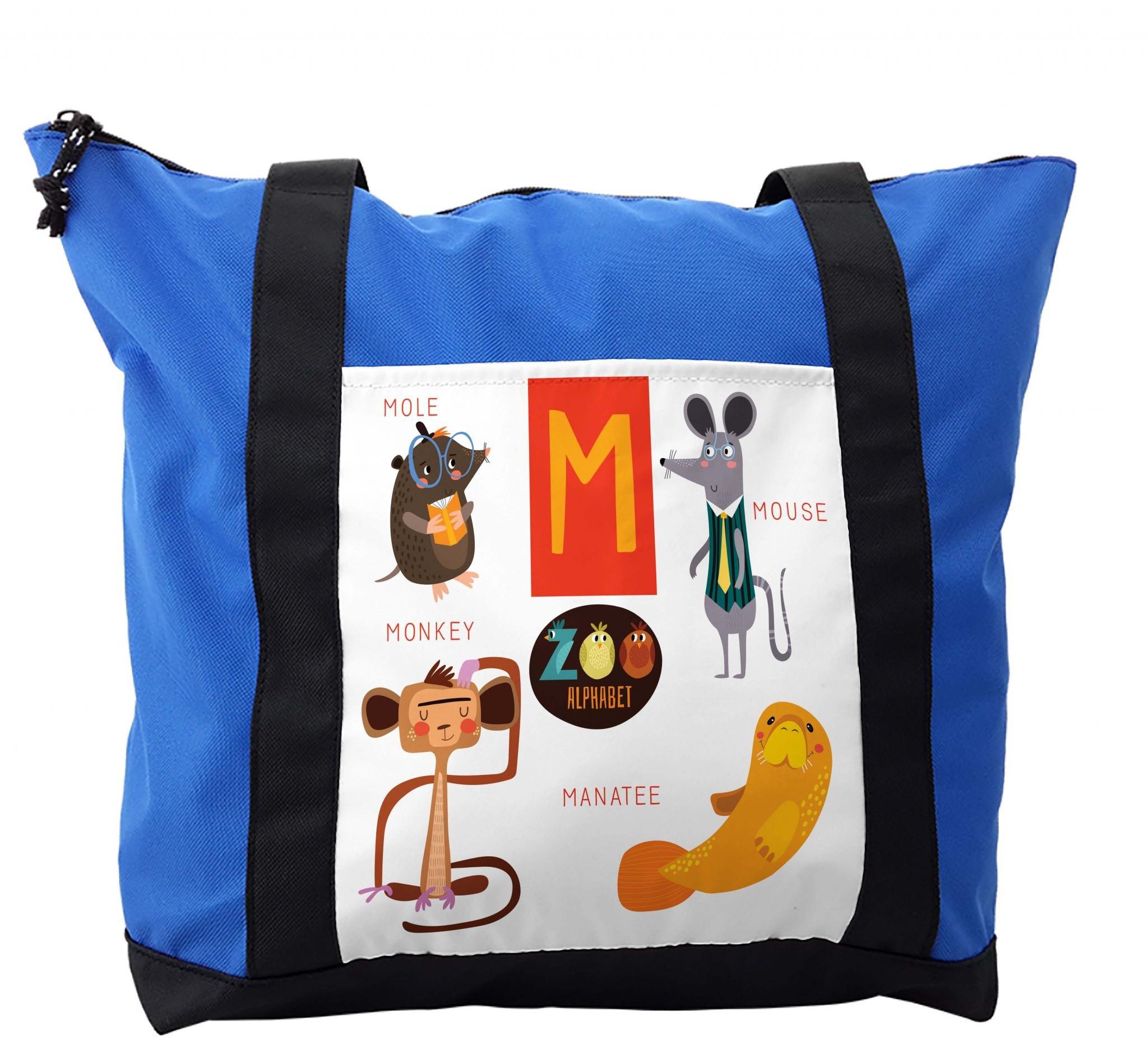 Lunarable ABC Kids Shoulder Bag, Mouse Mole Monkey Manatee, Durable with Zipper
