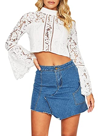 d9faacb4ea2187 Glamaker Women s Casual Floral Lace Long Sleeve Crop Top Hollow Out Blouse  Mock Neck White