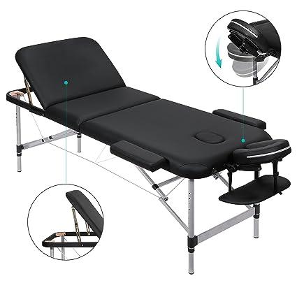 MARNUR Massageliege Mobile Massagetisch Massagebank Massagestuhl - Aluminium Deluxe 3 Zonen klappbar höhenverstellbare - mit
