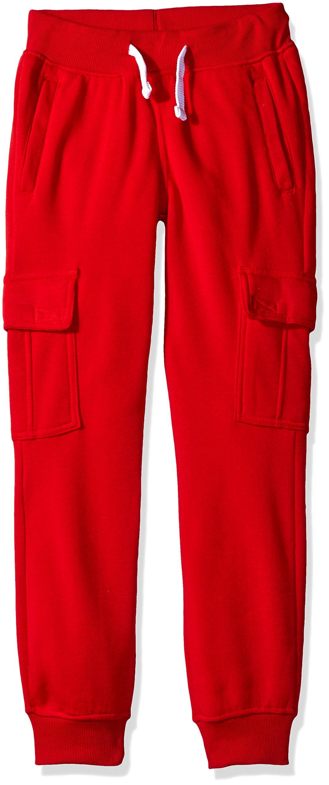 Southpole Boys' Big Active Basic Jogger Fleece Pants, Red(Cargo), Small / 8