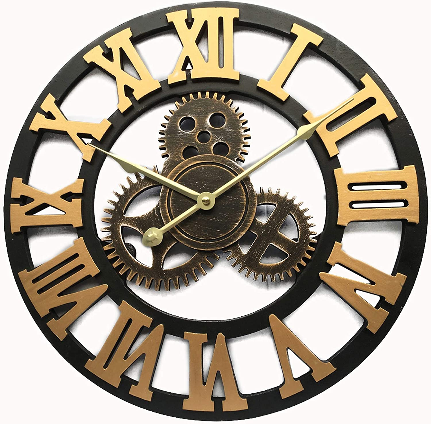 Vintage Decorative Wall Clock Large 16inch with Industrial Gears Non Ticking Home Decor Clocks,Battery Operated,Metal Effect (Gold)
