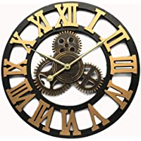 Evursua Vintage Decorative Wall Clock Large 16inch with Industrial Gears Non Ticking Home Decor Clocks,Battery Operated…