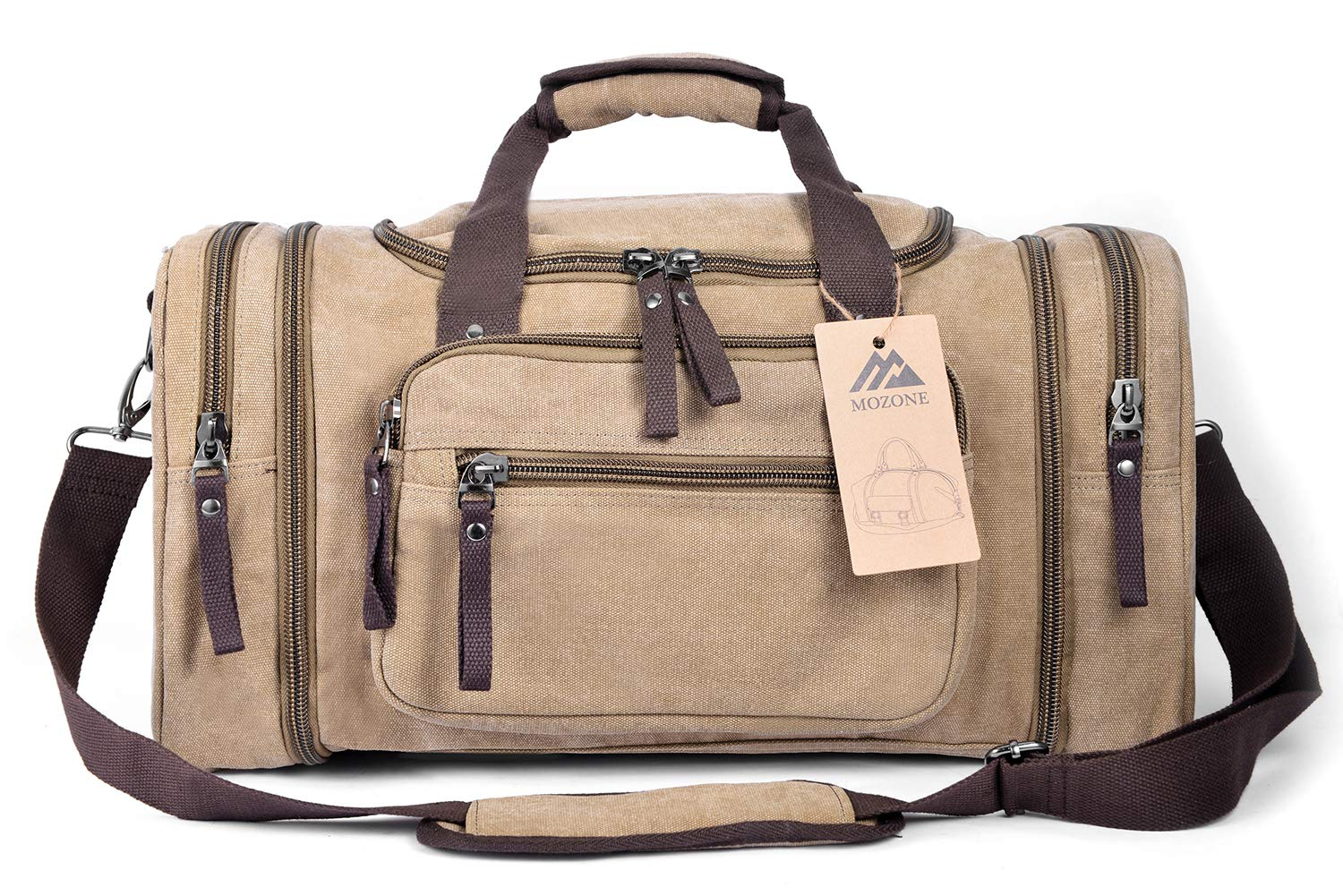 Mozone Unisexs Canvas Duffel Bag Oversized Travel Tote Luggage Bag Coffee