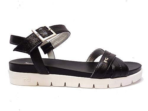 Nero Giardini 17742 sandali da donna in pelle col. Nero alt. zeppa cm. 3
