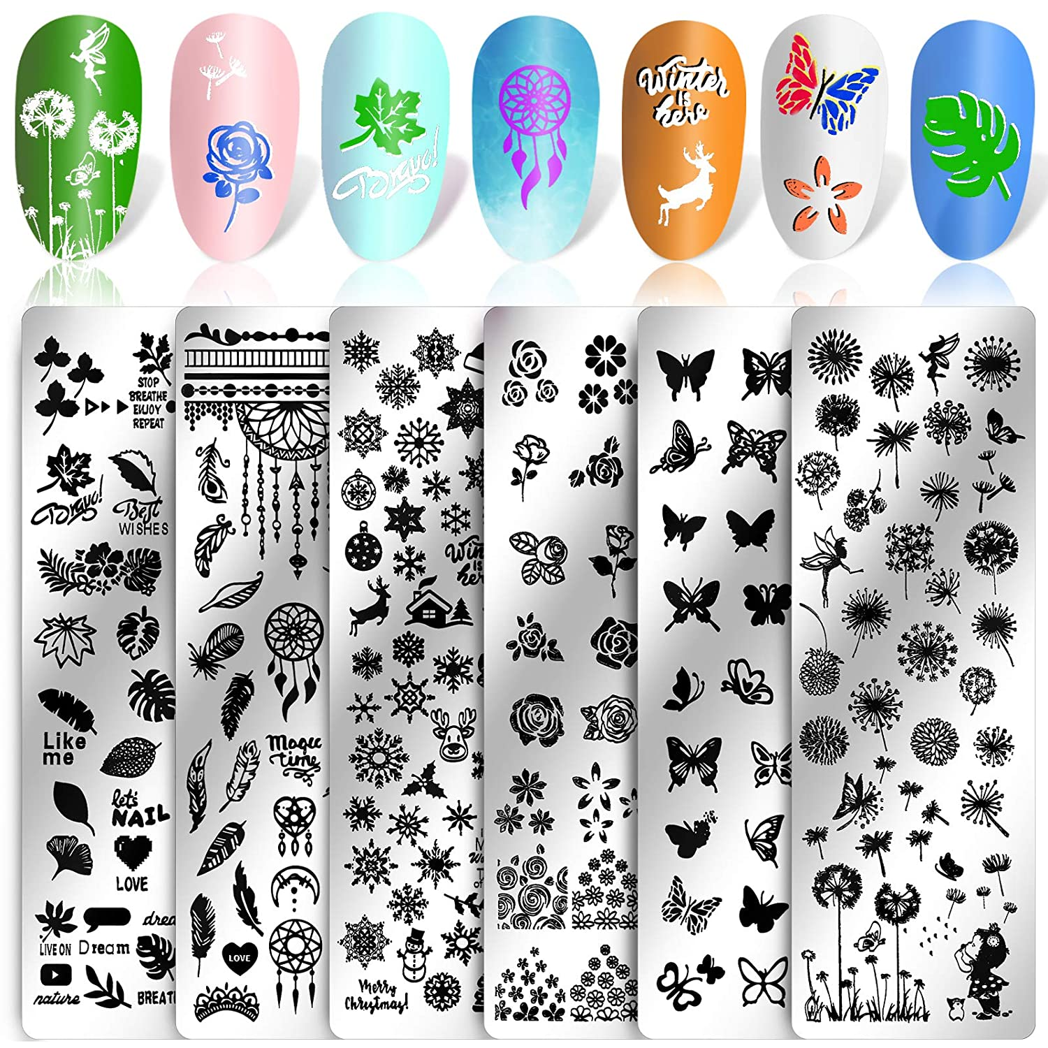 Konsait 6Pack Nail Art Stamp Template Nail Stamping Plates Butterfly Flower Templates Image Plates for Manicuring DIY Print Nail Decals for Women Girls Kids Salon Spa Home Favor Decor Tools