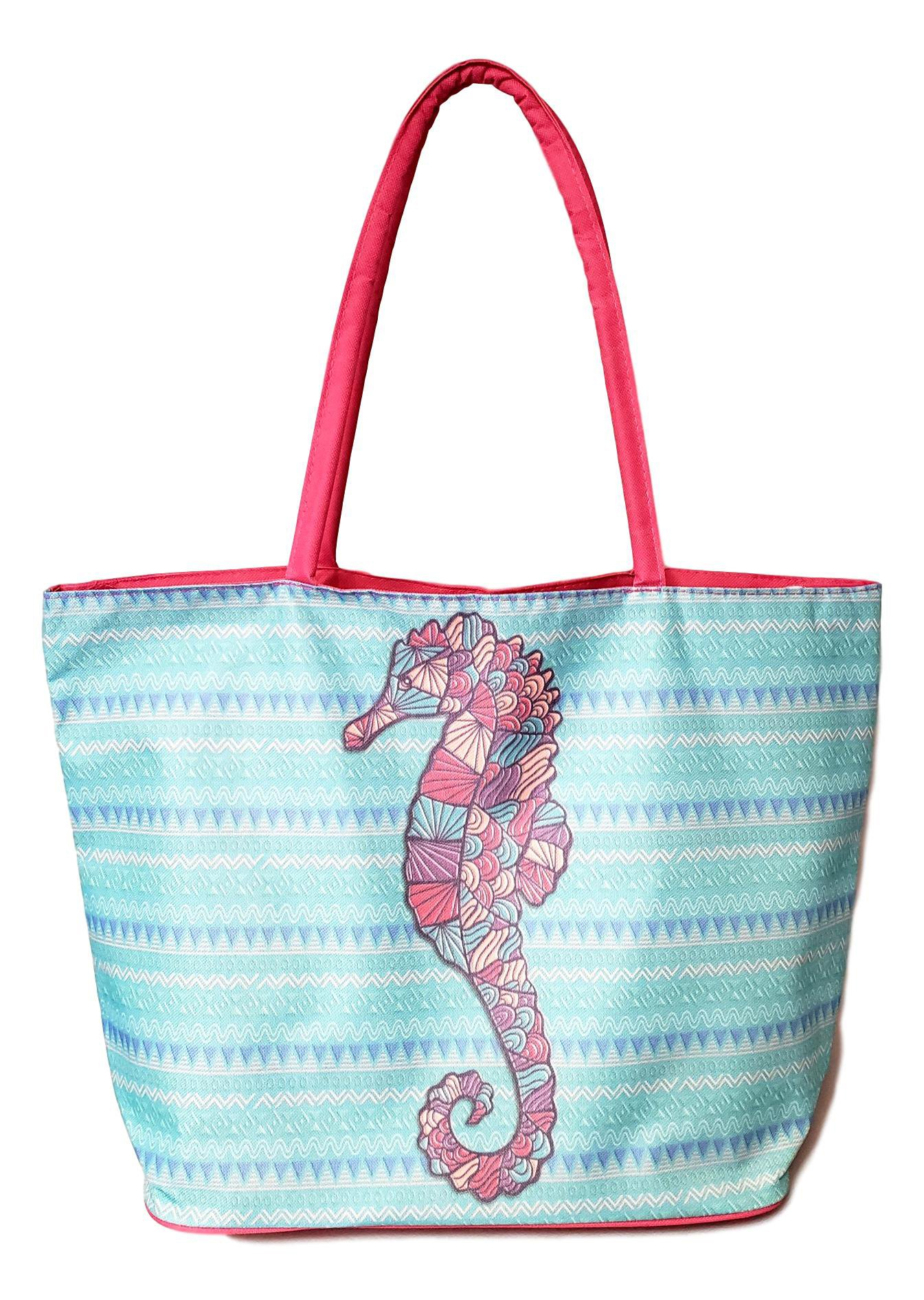 Stained Glass Design with Aztec Stripe Beach Bag Tote (Aqua - Pink Seahorse) by 101 BEACH